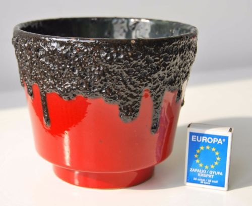 West-German-pottery-red-black-fat-lava-planter-2-ES-Emons-Sohne-flower-vintage