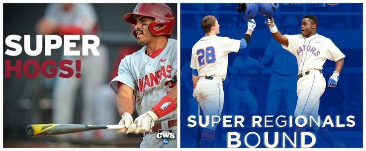 After today's action, @RazorbackBSB and @GatorZoneBB have punched their tickets to the Super Regionals! #RoadToOmaha