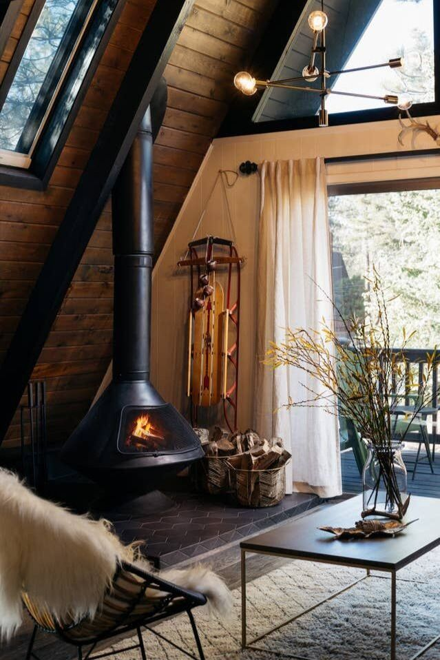 Home Tour This Big Bear A Frame Cabin Is The Ultimate Urban Escape Contemporary Cabin A Frame House House And Home Magazine