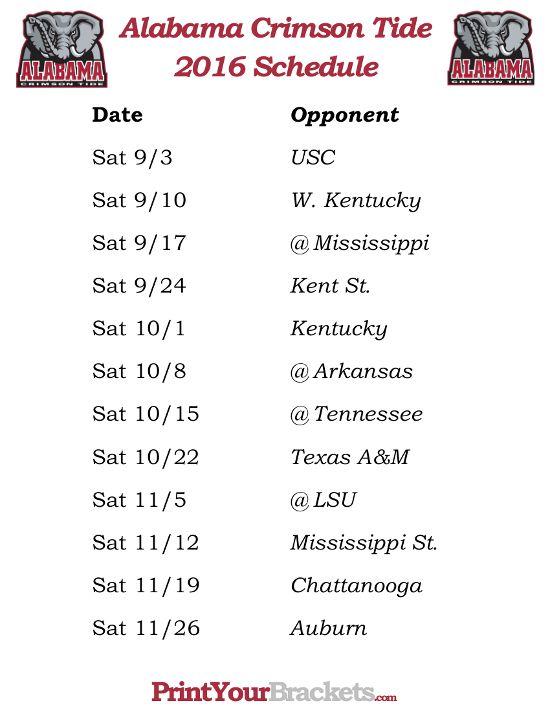 Printable Alabama Crimson Tide Football Schedule 2016