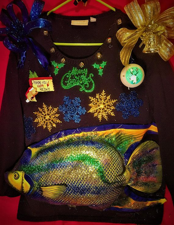 2 X lg ugly man's sweater with catch of the day