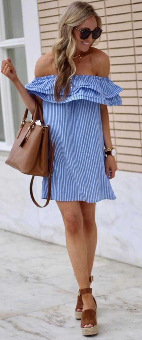 camel wedges  stripped dress look Fashion Idea