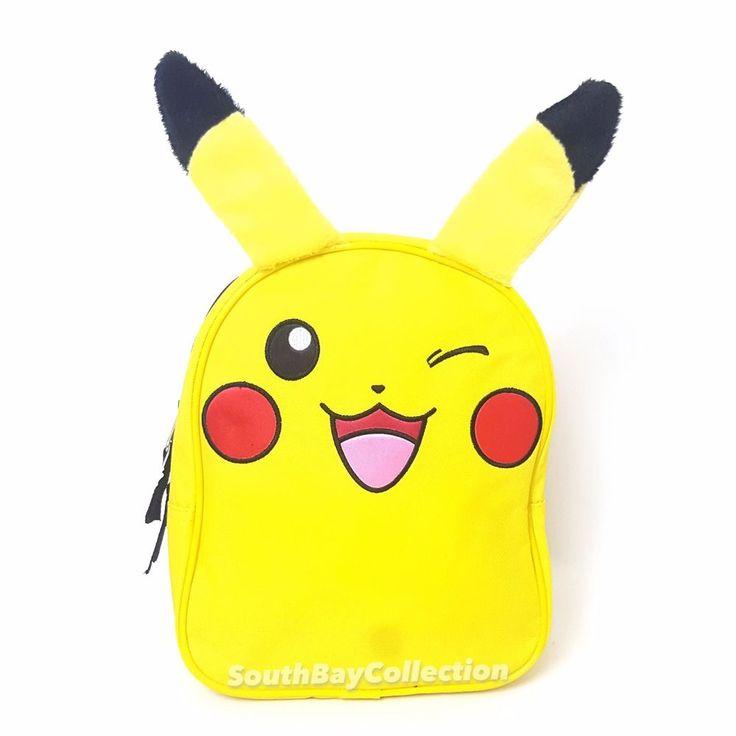 """Winking Pikachu Children Backpack 10"""" Yellow Pokemon Bag #Pokemon #Backpack #pikachulover #pikachu"""