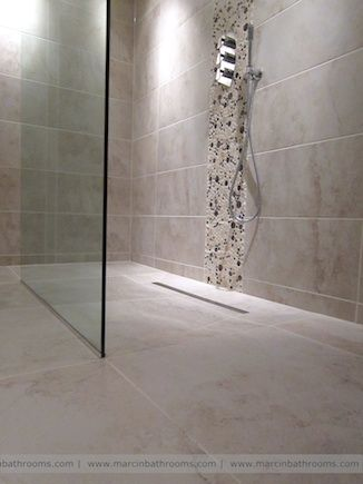 Stunning wet room as open, walk-in shower with 10mm glass wall and rain shower with Porcelanosa mosaic tiles http://www.marcinbathrooms.com/wetroom_conversion #wetroom #bathroom Installation by Marcin Bathrooms #MarcinBathrooms