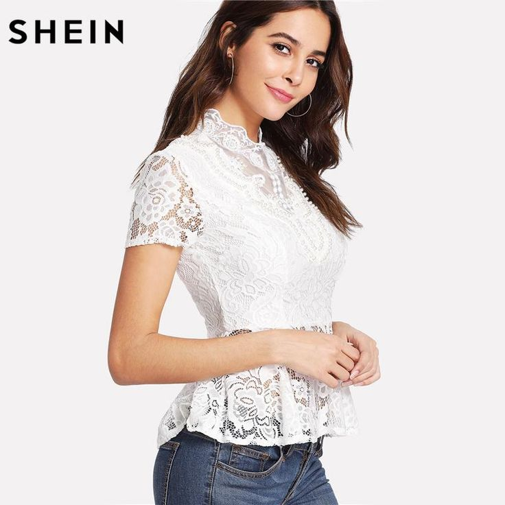 SHEIN Blouse Women Short Sleeve Ruffle Hem White Elegant Lace Blouses Stand Collar Slim Fit Pearl Beading Lace Peplum Top