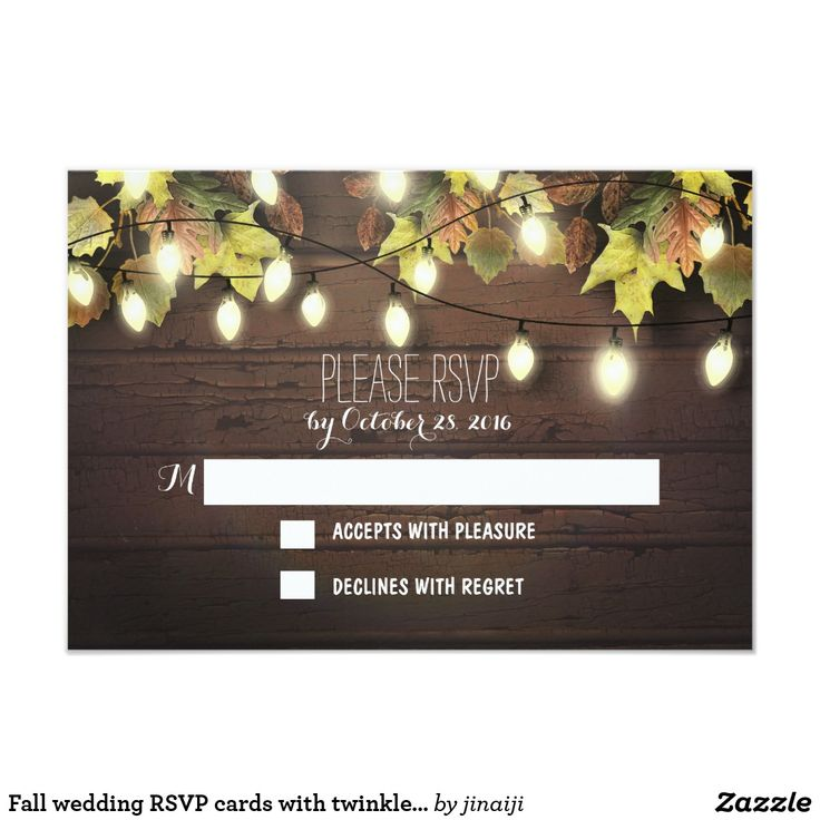 proper response time for wedding rsvp%0A Fall wedding RSVP cards with twinkle lights