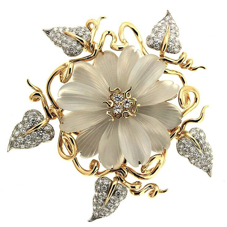 Hand Carved Crystal Diamond Gold Flower Brooch   From a unique collection of vintage brooches at https://www.1stdibs.com/jewelry/brooches/brooches/