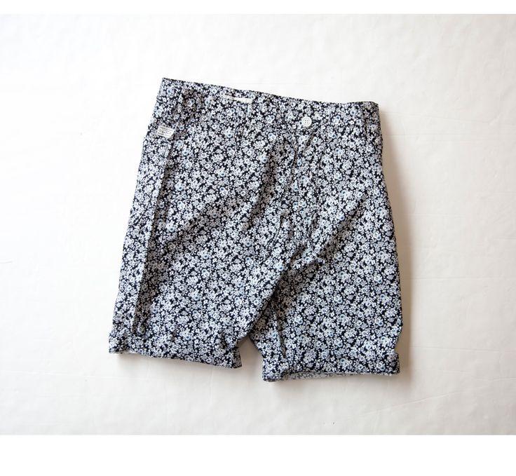 KAFIKA カフィカ ダウンプルーフ 小花柄 バミューダパンツ ショートパンツ リバティプリント 日本製 メンズ