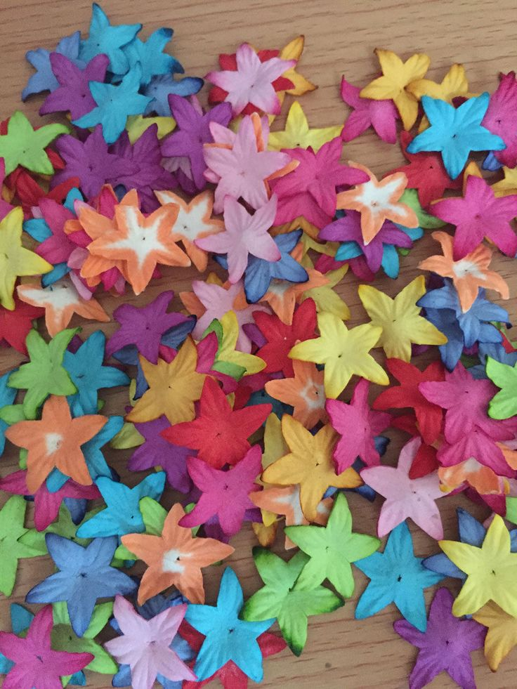 Lot 100 Mixed Colors Star Shaped Mulberry Paper Flowers Embellish 25 mm 1 "