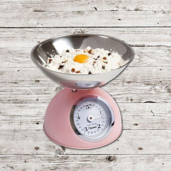 Retro-Küchenwaage rosa: Retro Küchenwaage aus Emaille in rosa mit Waagschale aus Edelstahl. Diese Küchenwaage wiegt bis auf 20 g genau - Größe: Höhe: 22 cm, ...