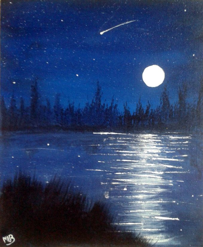Acrylic Paintings of ocean at night | Night sky (painting) by ShiftingDestiny