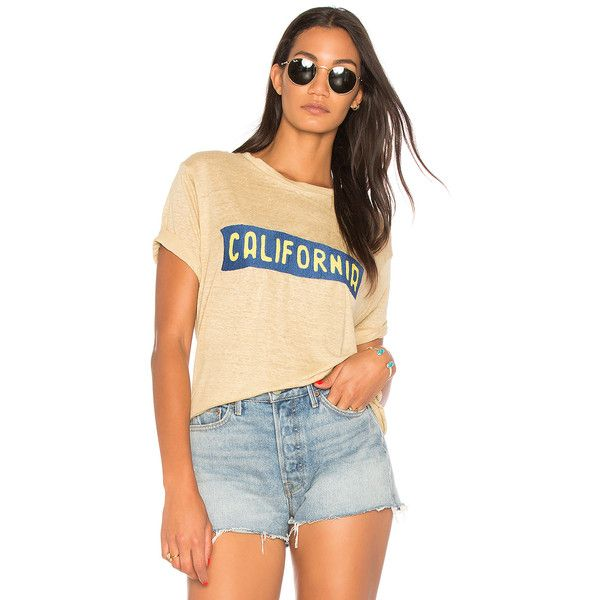 Banner Day California Plate Tee ($49) ❤ liked on Polyvore featuring tops, t-shirts, graphic tees, graphic design tees, beige t shirt, graphic printed t shirts, graphic print t shirts and linen tee