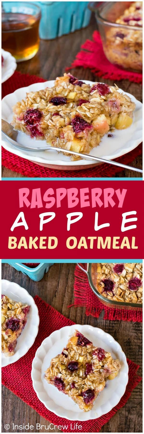 Raspberry Apple Baked Oatmeal - make a pan of baked oatmeal loaded with fruit and honey for an easy breakfast choice. Great recipe to make ahead of time for busy mornings! ~ Inside BruCrew Life
