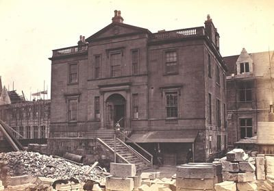 Gilmorehill House, photographed by Thomas Annan in 1870 on the eve of its demolition. The mansion was demolished to make way for the new University of Glasgow buildings. It stood at the south-west corner of what is now the west quadrangle in the University's Gilbert Scott building.    The mansion was built c 1802 by the West Indies merchant Robert Bogle (d 1822).