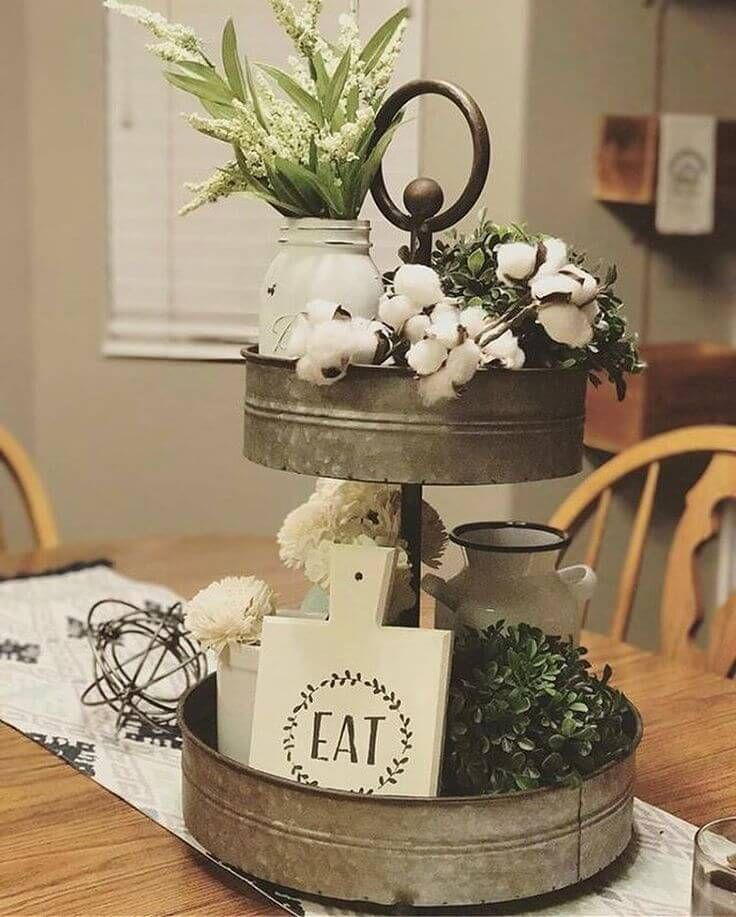 33 Rustic Farmhouse Style Tray Ideas For Charming And Elegant Arrangements Kitchen Table Centerpiece Cotton Decor Tray Decor