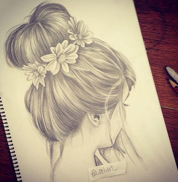 tumblr drawings girl with hair in bun side veiw - Google Search
