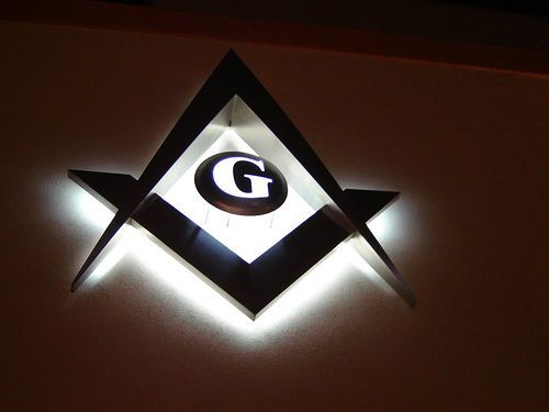 "Illuminated Square, Compasses, And Letter ""G"""