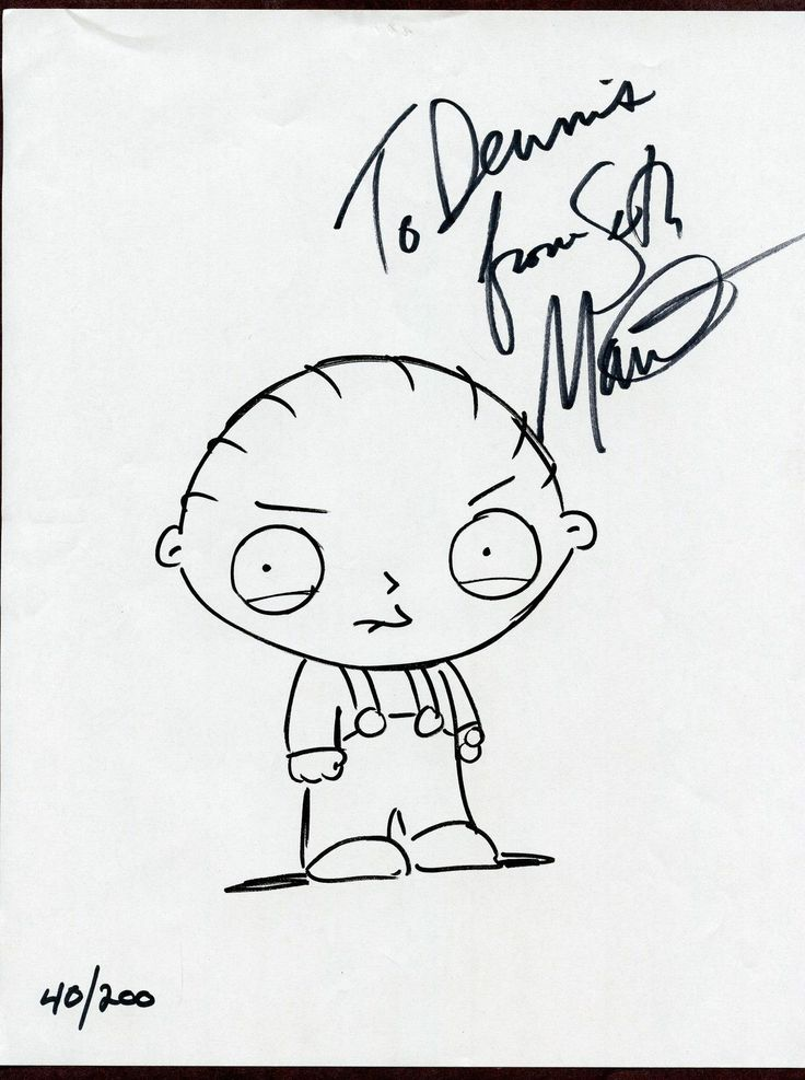 Seth MacFarlane Voice Actor Family Guy Signed Numbered Sketch Stewie Griffin | eBay