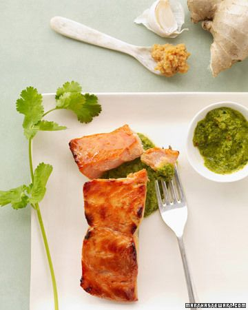 Miso Salmon with Cilantro Sauce