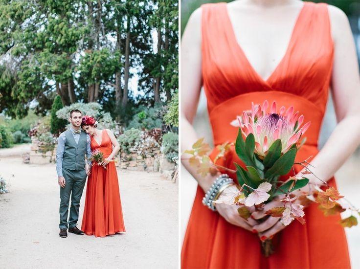 My colourful bride. Photo by Erin + Tara #farmwedding #orangeweddingdress #floralheadpiece