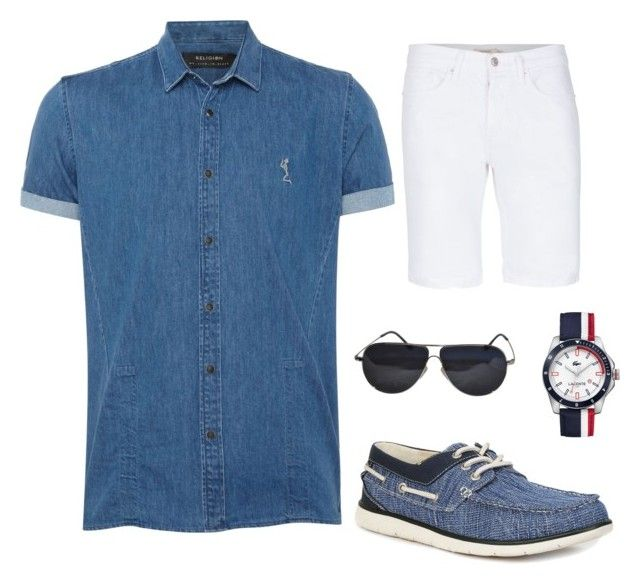 """""""Men's Casual Denim"""" by lupekay on Polyvore featuring Religion Clothing, Topman, GBX, BMW, Lacoste, men's fashion and menswear"""