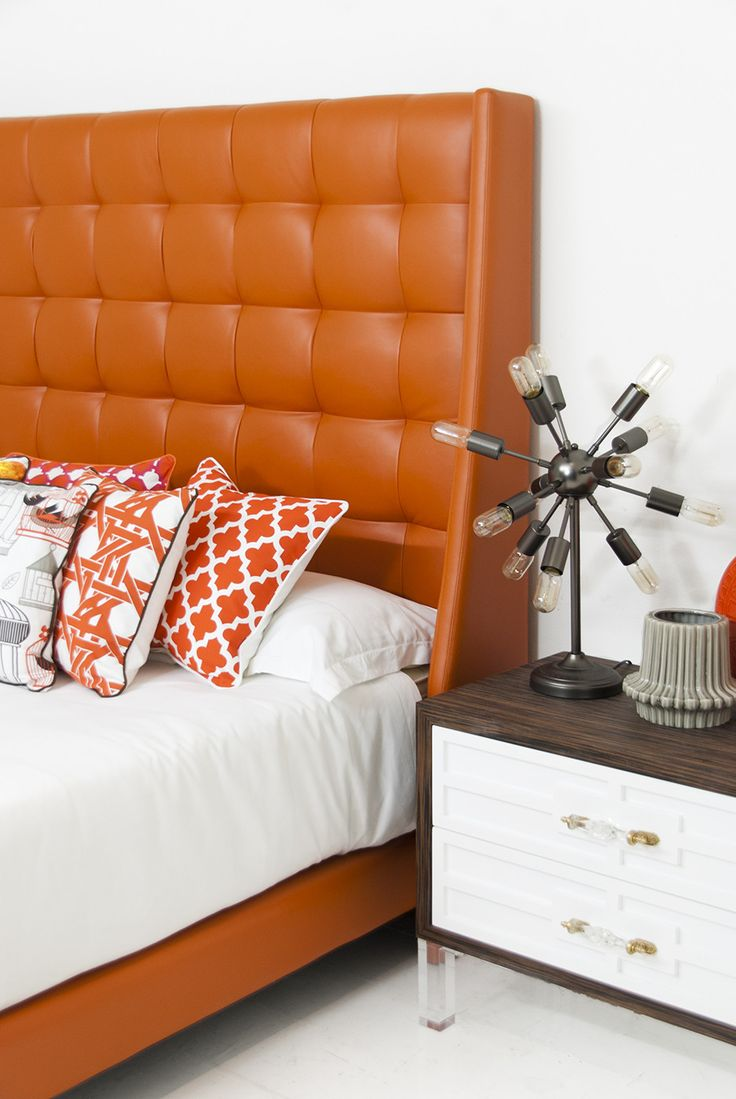 St. Tropez Bed in Hermes Orange Faux Leather