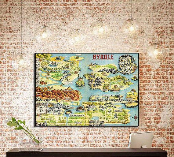 Legend Of Zelda Hyrule Map Zelda Poster Zelda Map Decor