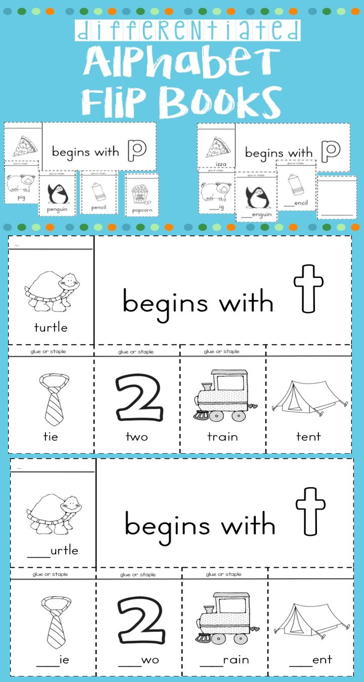 Alphabet flip books focusing on beginning sounds with 3 versions of black and white alphabet flip books for your students to create to allow for differentiation. Great resource to use to introduce new letters, reinforce letter sounds or beginning sound vocabulary, or for students needing more support.