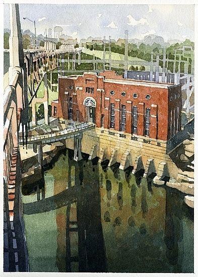"Thurlow Dam from Fitzpatrick Bridge- Tallasee, AL by Iain Stewart Watercolor ~ 13"" x 9"""