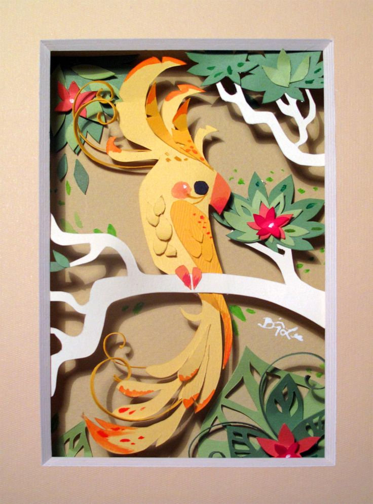 Brittney Lee. paper art, exotic bird.