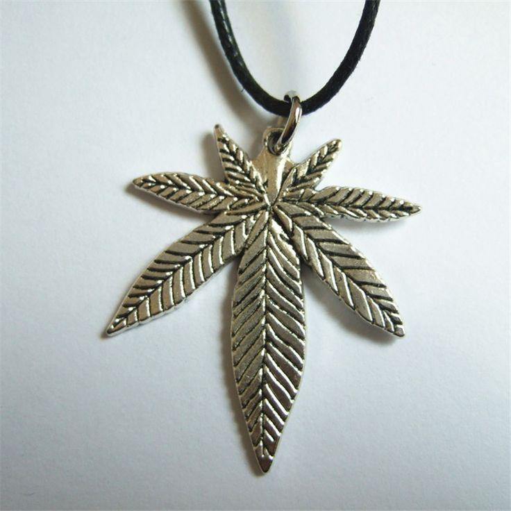 1pcs Black Wax Cotton Cord with Tibetan Leaf Charm hemp Pendant Necklace, Pagan, Wiccan