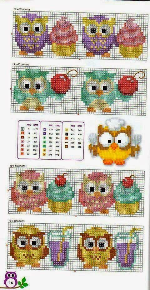 schema punto croce gufi   Hobby lavori femminili - ricamo - uncinetto - maglia