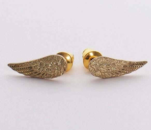{Gold Angel Wing Earrings}