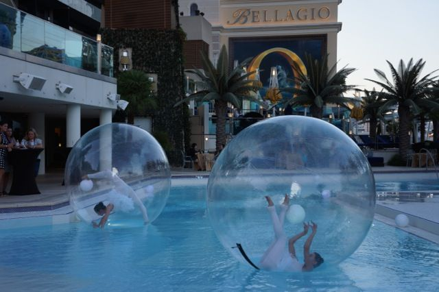 Water spheres show boulevard pool the cosmopolitan hotel for Pool expo show