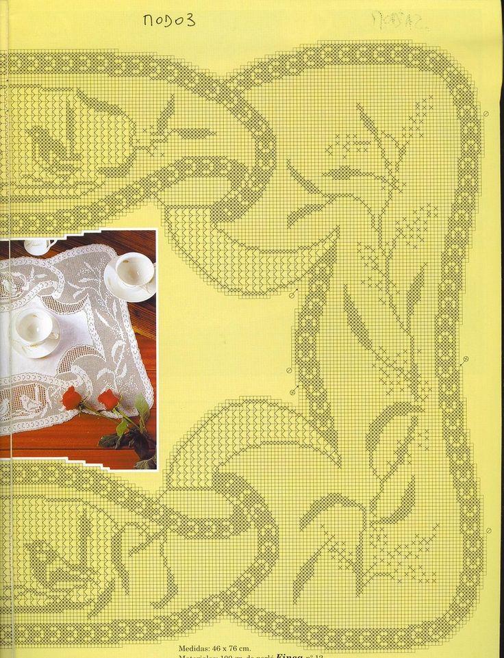 """Mary Card """"Blue Wren and Wattle"""" Filet Crochet Chart(Part 2/3)."""