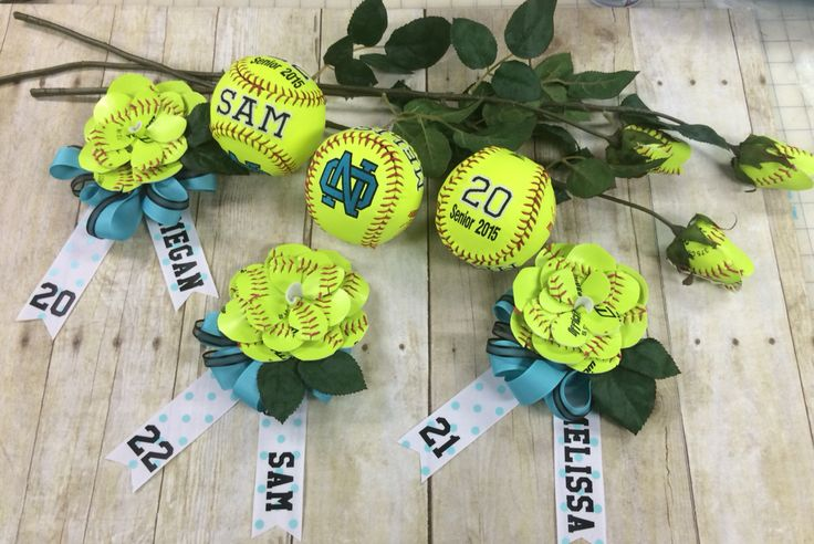 Softball memorabilia for our local high school. You will never forget your team with a school logo, your name and number! It makes a special gift. Also, handmade rosebuds for your bouquets and a corsage to top it off for your parent! A cute way to share memories