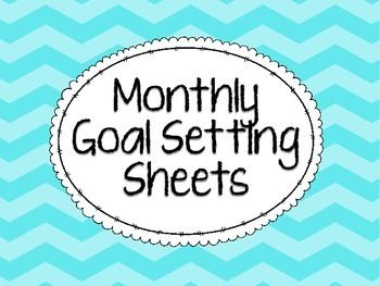 Goal settings sheets - one for every month! I have students fill their goal sheets out at the beginning of each month. We fill them out using the SMART goal format (specific, measurable, attainable, realistic, timely) and attach them to the inside of their tracking folders that are kept in their desks.