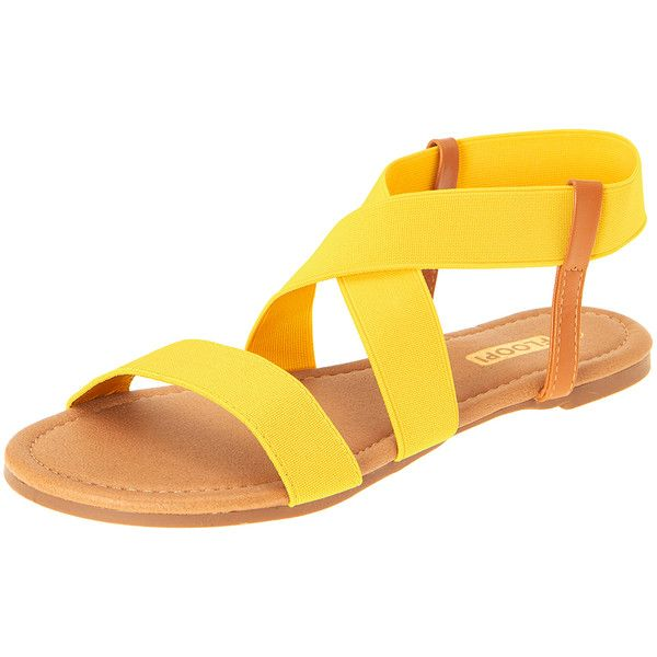 Women's Floopi Women's Gladiator Flat Sandals ($17) ❤ liked on Polyvore featuring shoes, sandals, yellow, open toe gladiator sandals, open toe flat shoes, flat shoes, gladiator sandals and yellow shoes