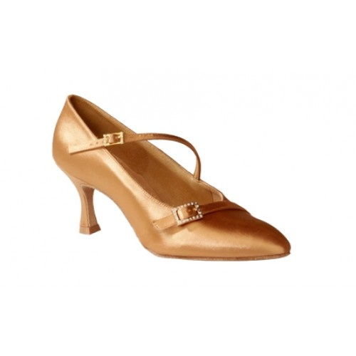 Ray Rose 129 Savannah, Flesh Satin  The Savannah is a traditional pointed toe ladies' Standard shoe with an additional strap, enhanced by a beautifully crafted diamante buckle.  The style is adorned by a stylish overlay across the front, which includes a decorative diamante buckle trim.  Price: 91.30€