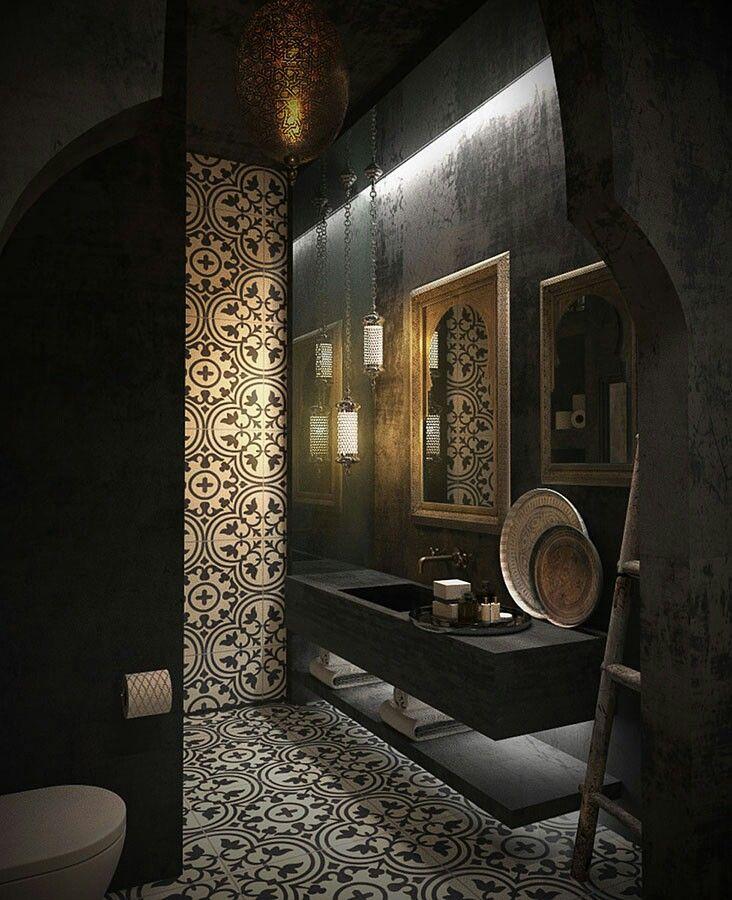 Moroccan bathroom with modern shapes. Designed by Marouane Okba-Marok Studio