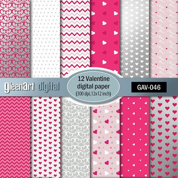 Valentine Digital Paper Pack Scrapbook paper Love by GleenArt