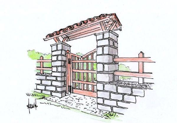 Disegno di cancello in legno con pensilina