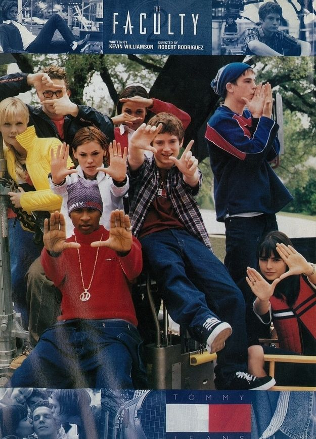 When the cast of The Faculty: Usher, Clea DuVall, Elijah Wood, Josh Hartnett, and Jordana Brewster did an ad campaign.   18 Epically '90s Tommy Hilfiger Moments