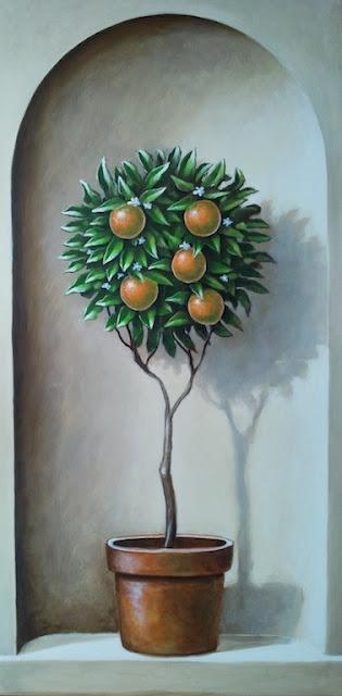 Orange Tree  Trompe L'oeil mural by Chris Westall