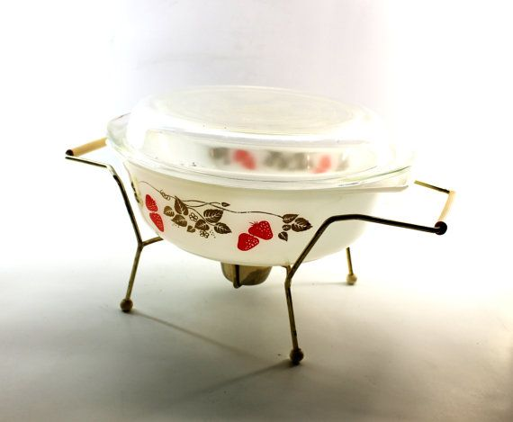 Strawberry Pyrex Casserole Dish with Serving Stand - Pyrex Dish and Warmer on Etsy, $51.40