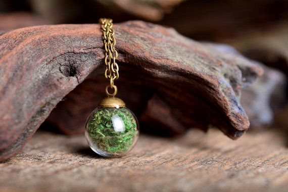 Real moss necklace nature necklace green necklace by SomeMagic