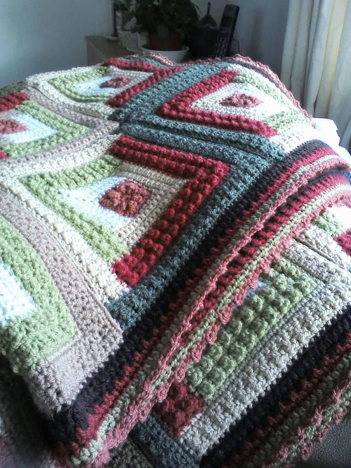 Red Heart Autumn Log Cabin Throw Crochet Blankies