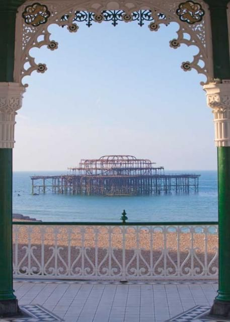 My most repinned pin!!  West Pier, Brighton - Sunrise through the Bandstand (P5R) Also available as a Greetings Card from www.tonybowallphotography.com