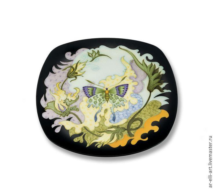 """Купить Фарфоровая декоративная тарелка. """"Бабочка"""" - фарфоровая тарелка, ручная роспись, авторская ручная работа"""