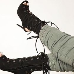 Black Lace Up Sandal Booties